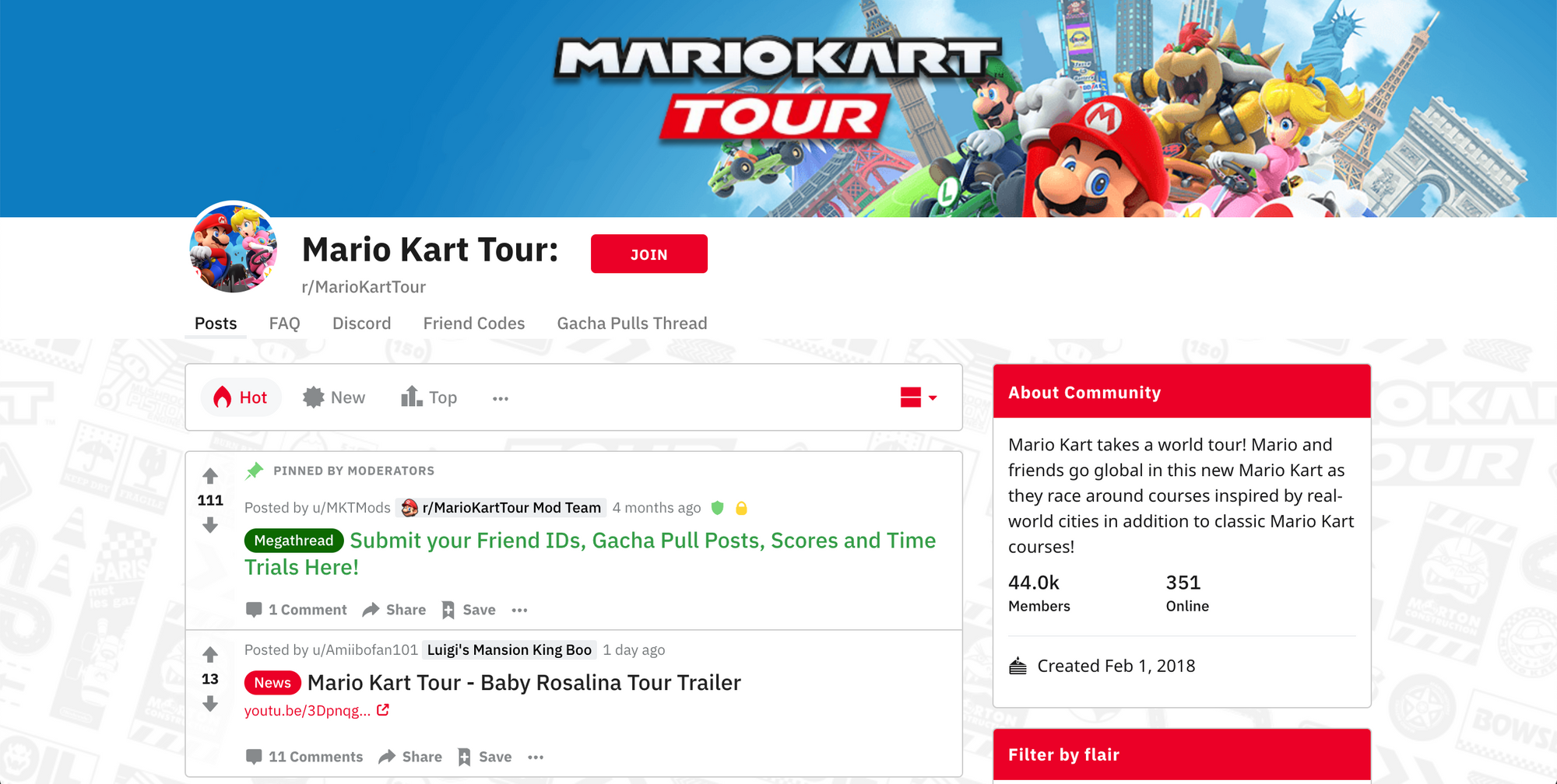 Mario Kart Tour page on Reddit