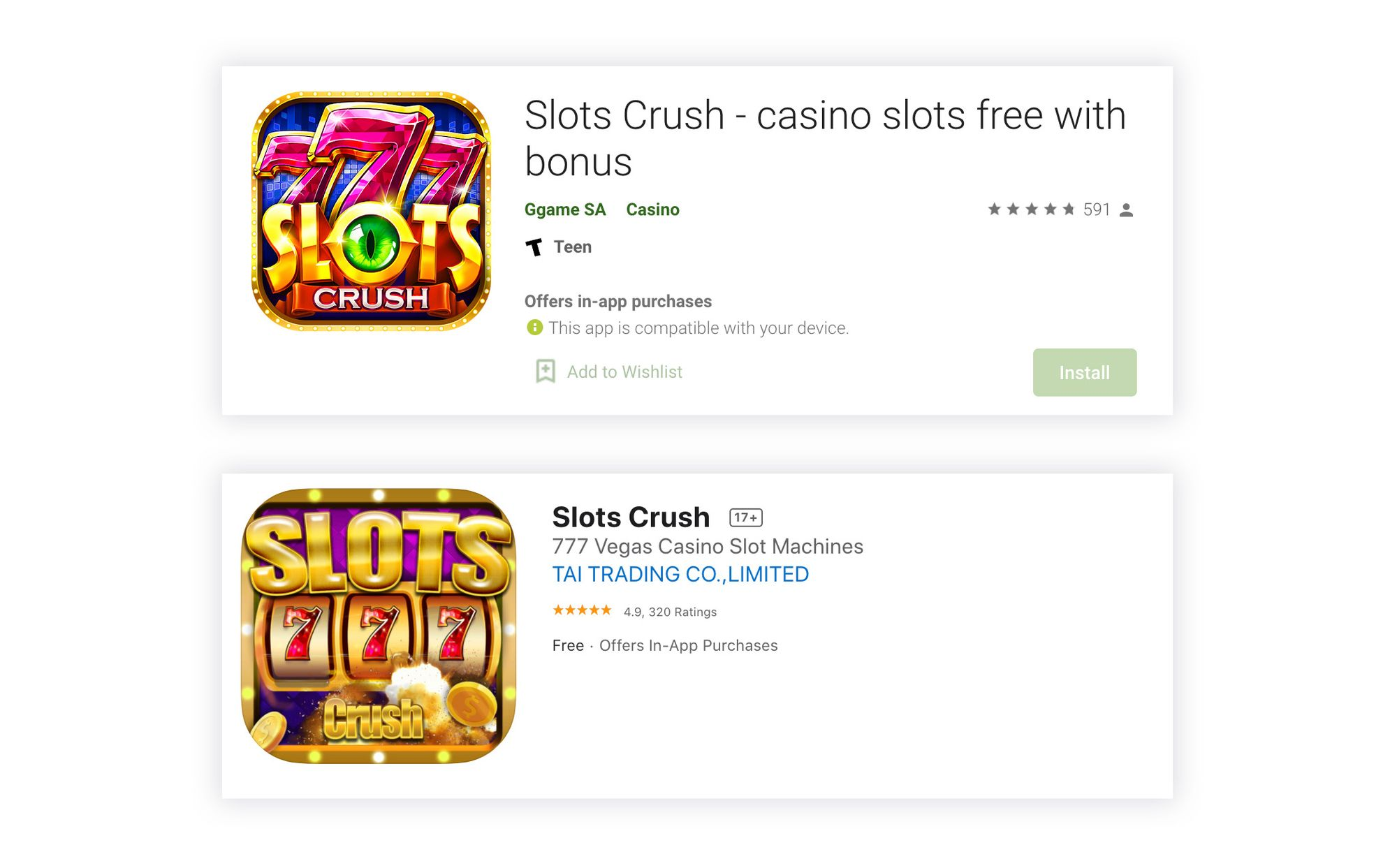 Google Play accepts keywords in the title, while on the App Store the title should be clear and straightaway