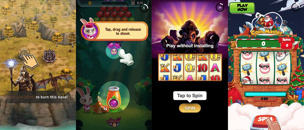 Above: examples of clues and hints for playables. Source: Apptica.com