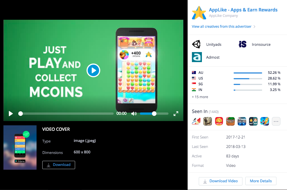 Top Ad Creative ofAppLike - Apps & Earn Rewards by Applike Company