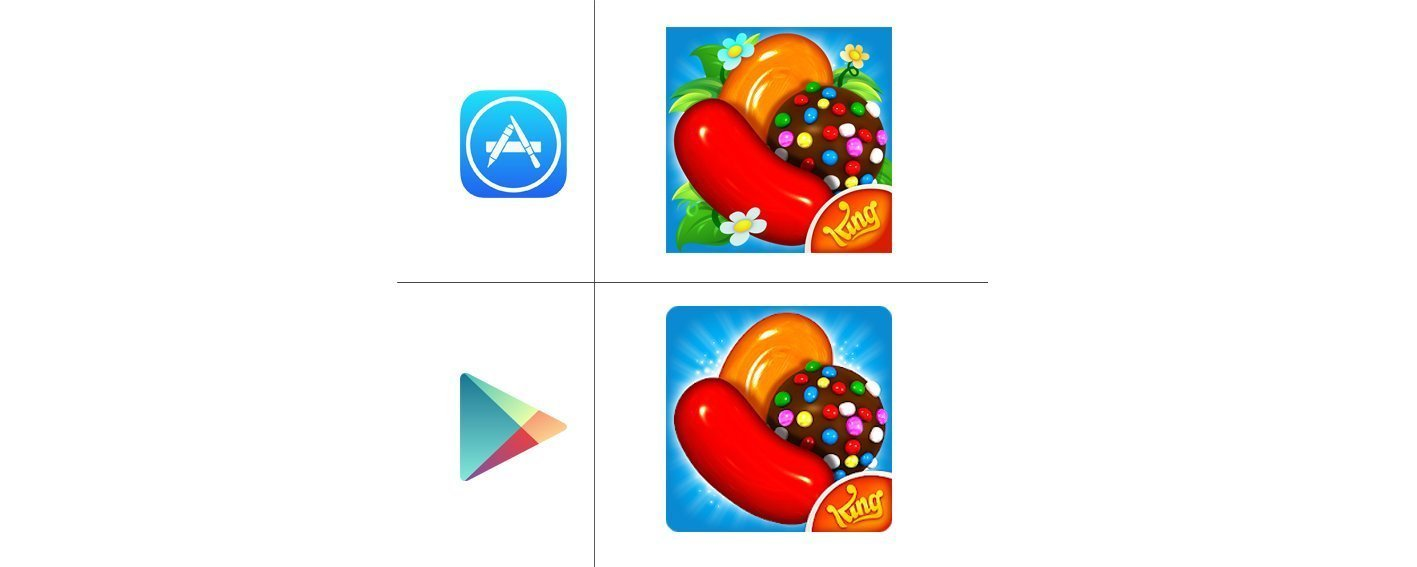 """Candy Crush"" icons on App Store & Google Play"