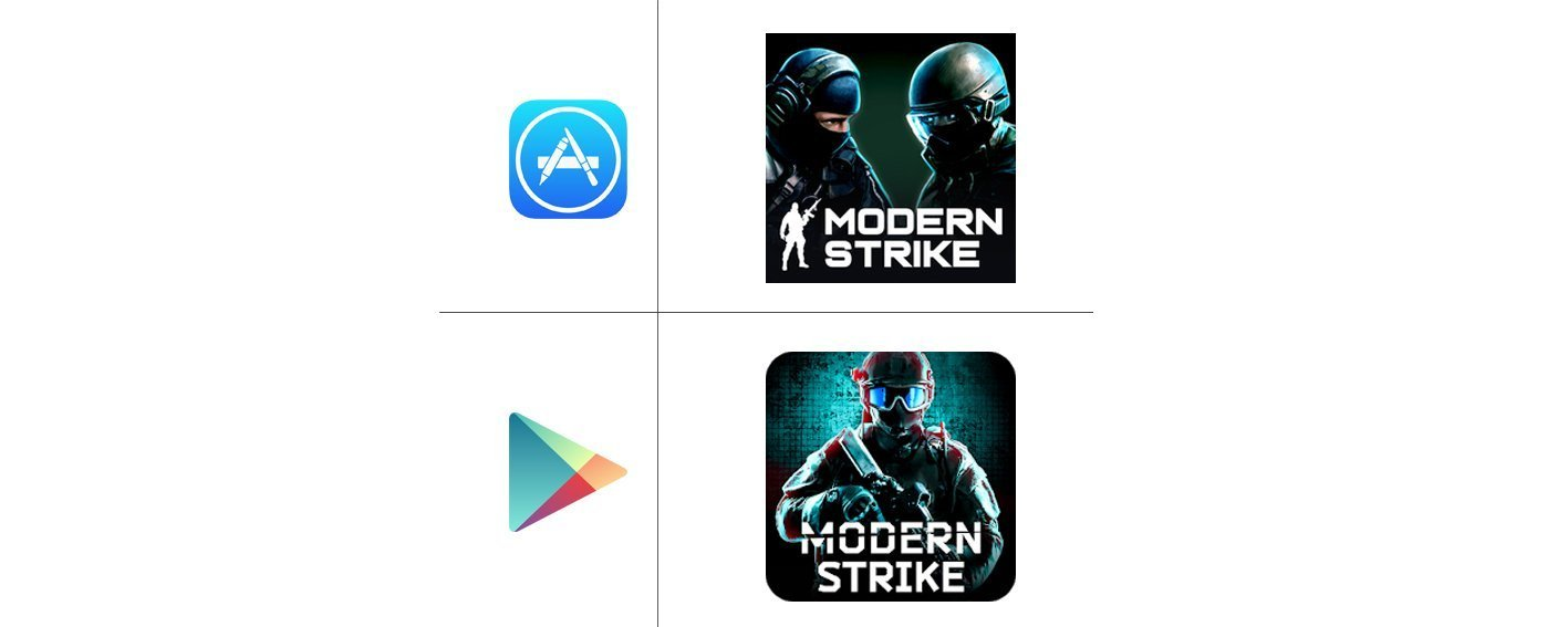 """Modern strike"" icons on App Store & Google Play"