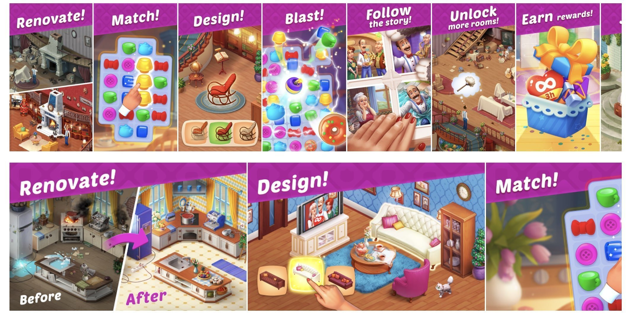 """Homescapes"" screenshots in App Store (above) & Google Play (below)"