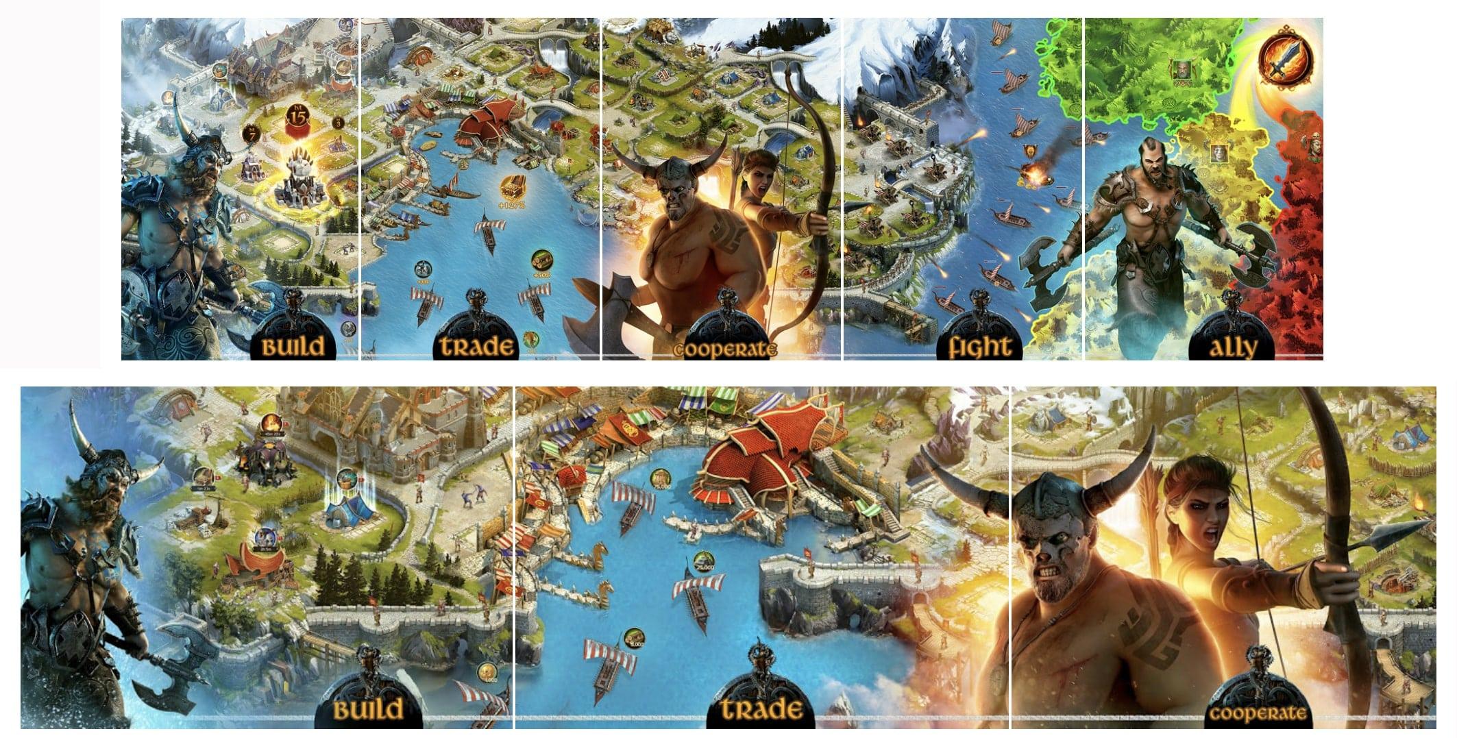 """Vikings: War of Clans"" screenshots in App Store (above) & Google Play (below)"