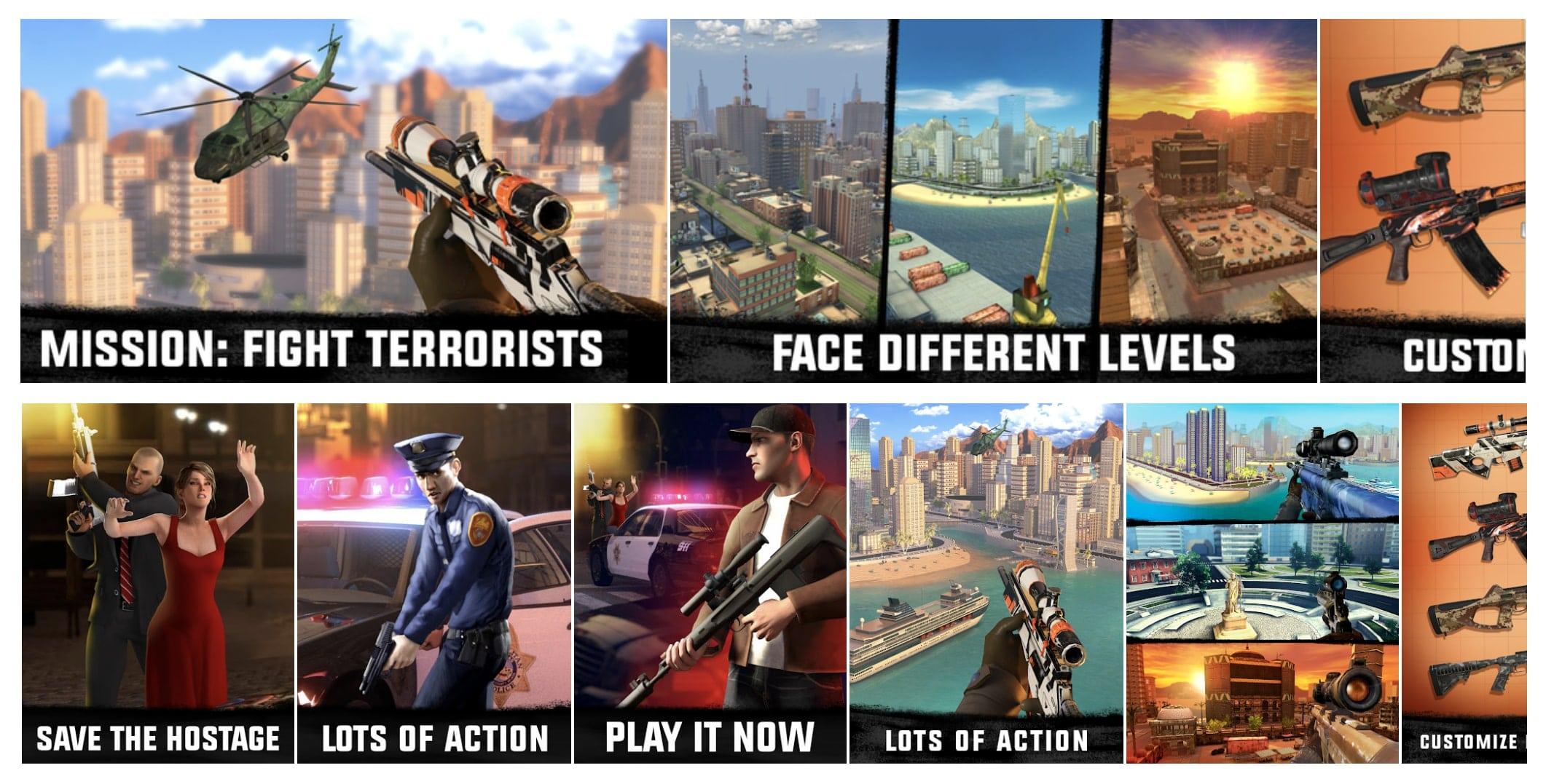 """""""Sniper 3D Gun Shooter"""" screenshots in App Store (above) & Google Play (below)"""