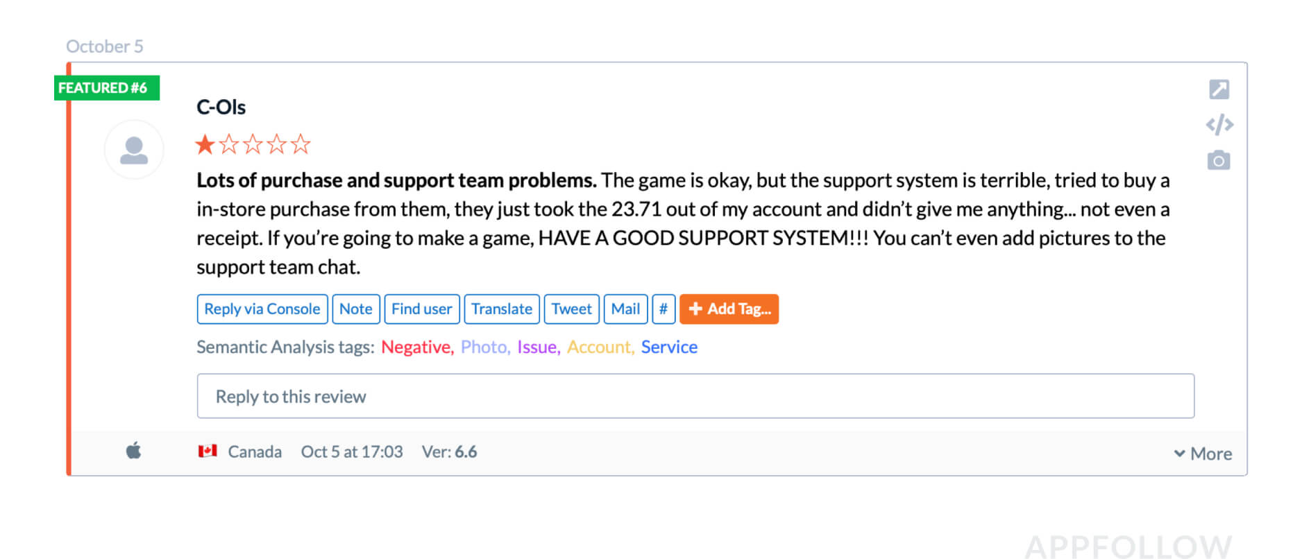 The user laments that the game has become worse and that developers aren't doing anything about it. Everyone who visits the game page sees this review. Source: appfollow.io