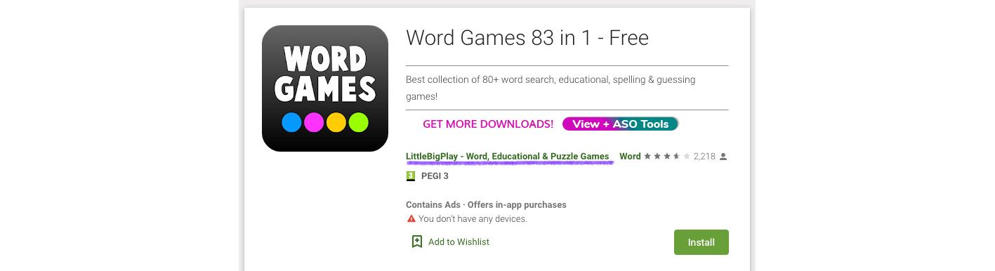 Developer name with app keywords on Google Play Store