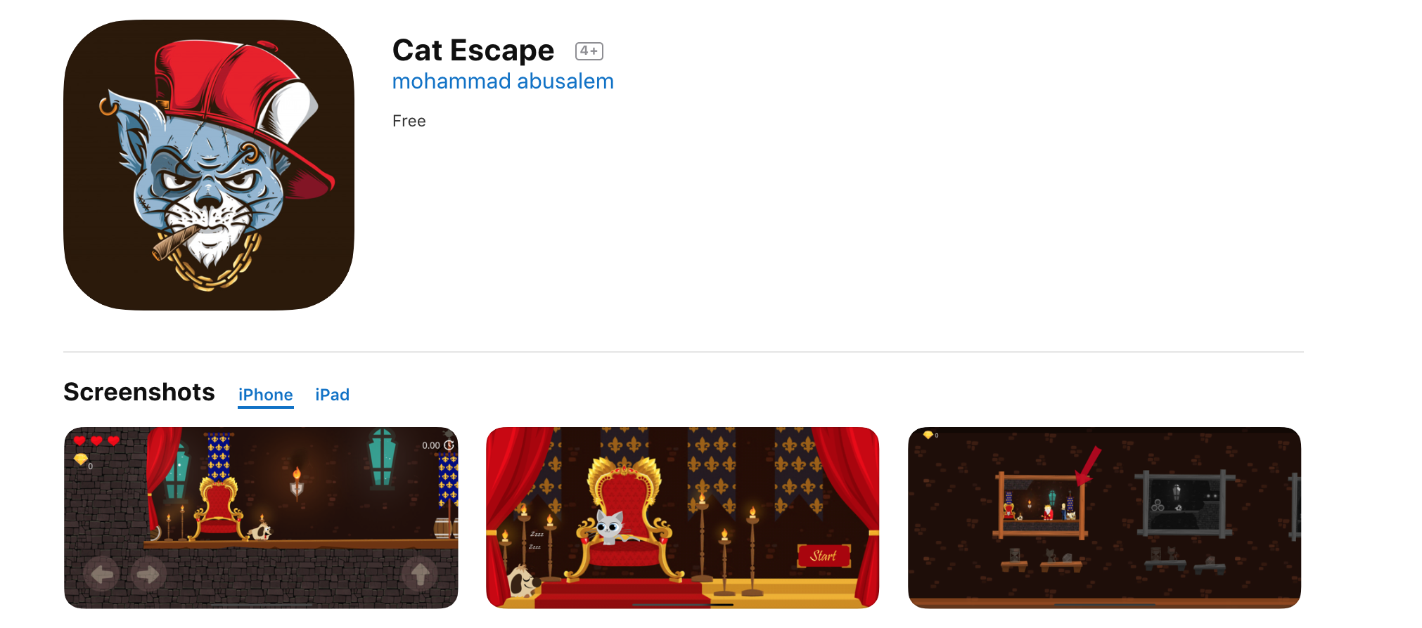 Cat Escape App Store page (appears in the search results for coronavirus)